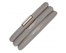 Bracelet cuir de veau véritable 3 rangs Endless JLO nacre métallisé - 1007-3