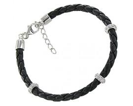 Bracelet cuir & argent empierré Stepec - C1421