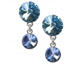 Boucles d'oreilles pendantes argent Indicolite - BOPU-RICO-211