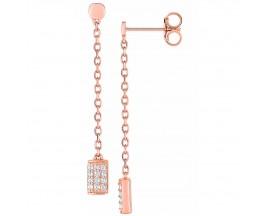 Boucles d'oreilles pendants empierrées or rose Lore - L3A01RZ