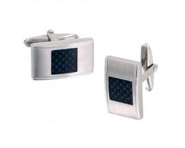 Boutons de manchettes acier & carbone Phebus - 85-0009-N