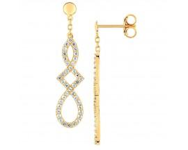 Boucles d'oreilles pendants empierrées or Lore - L3A08JZ