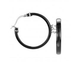 Boucles d'oreilles créoles céramique & acier Ceranity - 904-043.N