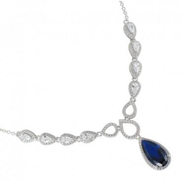 collier argent bleu