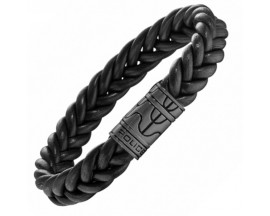 Bracelet acier & cuir Police - PJ25714BLB01S