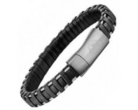 Bracelet acier & cuir Police - PJ25897BLB01S