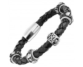 Bracelet acier & cuir Police - PJ25884BLB01S