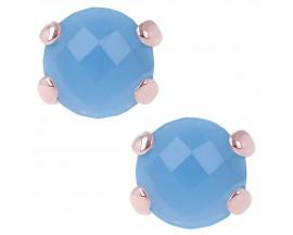 Boucles d'oreilles boutons plaqué or rose et agathe Bronzallure - WSBZ00279.BB