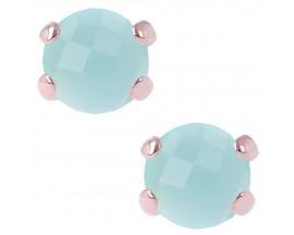 Boucles d'oreilles boutons plaqué or rose et agate Bronzallure - WSBZ00279.LB