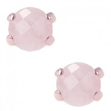 Boucles d'oreilles boutons plaqué or rose et quartz rose Bronzallure - WSBZ00279.R
