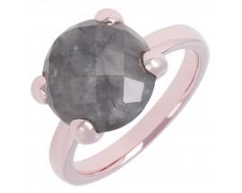 Bague plaqué or rose et grey quartz Bronzallure -