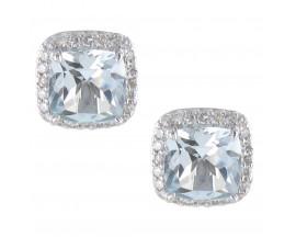 Boucles d'oreilles boutons or aigue marine & diamant(s) Gringoire - V 2169 AIG/BTS