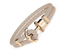 Bracelet cuir noisette & acier IP doré Paul Hewitt