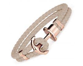 Bracelet cuir noisette & acier IP rosé Paul Hewitt