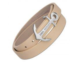 Bracelet cuir noisette & acier Paul Hewitt