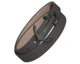 Bracelet cuir gris & acier IP noir Paul Hewitt
