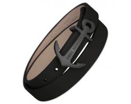 Bracelet cuir noir & acier IP noir Paul Hewitt