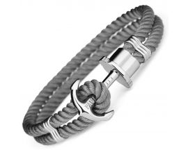 Bracelet nylon gris & acier Paul Hewitt