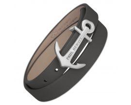 Bracelet cuir gris & acier Paul Hewitt