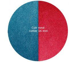 Cuir collier Les Georgettes - Bleu pétrole/Framboise 16 mm