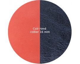 Cuir collier Les Georgettes - Corail/Marine métalisé 16 mm