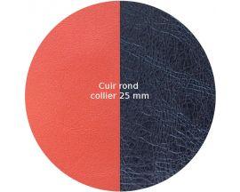 Cuir collier Les Georgettes - Corail/Marine métalisé rond 25 mm