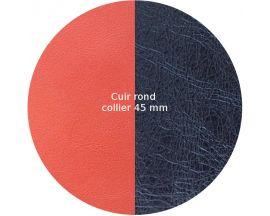 Cuir collier Les Georgettes - Corail/Marine métalisé 45 mm
