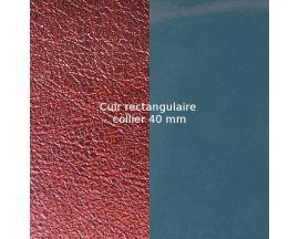 Cuir collier Les Georgettes - Bleu Vernis/Bordeaux Métallisé 40 mm