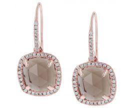 Boucles d'oreilles brisures plaqué or rose et smoky quartz Bronzallure - WSBZ00499.S