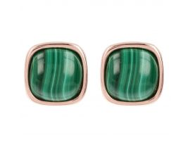 Boucles d'oreilles boutons plaqué or rose et amazonite Bronzallure - WSBZ01042.GM