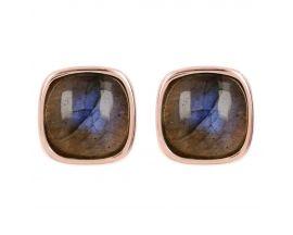 Boucles d'oreilles boutons plaqué or rose et labradorite Bronzallure - WSBZ01042.LAB.AZ