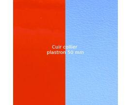 Cuir collier Les Georgettes - Orange vernis/Bleuet 50 mm