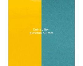 Cuir collier Les Georgettes - Jaune vernis/Bleu basalte 50 mm