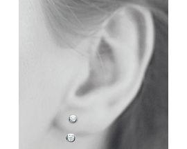 Boucles d'oreilles boutons argent oxydes Stepec - BUBTBBP