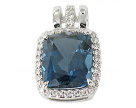 Pendentif or topaze blue london & diamants Gringoire - LT 3095 TB LOND/BTS
