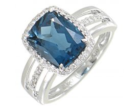 Bague or topaze blue london & diamant(s) Gringoire - BC 2307 TB LOND/BTS