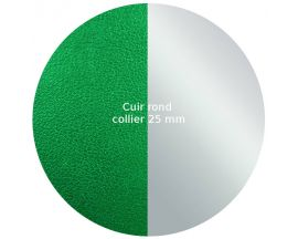 Cuir collier Les Georgettes - Vert/Gris Vernis 25 mm