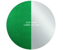 Cuir collier Les Georgettes - Vert/Gris Vernis 16 mm