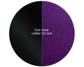 Cuir collier Les Georgettes - Noir Vernis/Violine 25 mm