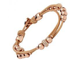 Bracelet cuir & acier empierré Fossil - JA6539791