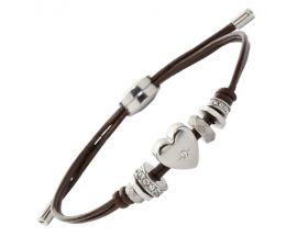 Bracelet cuir et acier empierré Fossil - JF00116040