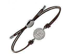 Bracelet cuir et acier empierré Fossil - JF00117040