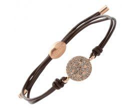 Bracelet cuir et acier rosé empierré Fossil - JF00118791