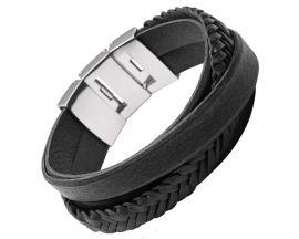 Bracelet cuir & acier Fossil - JF02079040