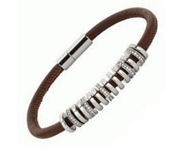 Bracelet cuir & acier Fossil - JF01997040
