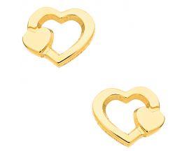 Boucles d'oreilles boutons or coeur Stepec - aBUBBJ