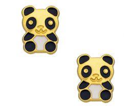Boucles d'oreilles boutons panda or Stepec - aPSSBS