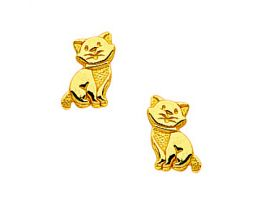 Boucles d'oreilles boutons chatons or Stepec - BIEPPP