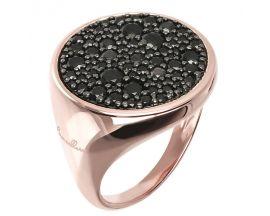 Bague plaqué or rose et oxydes noirs Bronzallure - WSBZ00831.BS