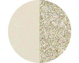 Cuir collier Les Georgettes - Crème/Paillettes dorées 45 mm